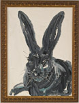 Hunt Slonem, painting of a rabbit